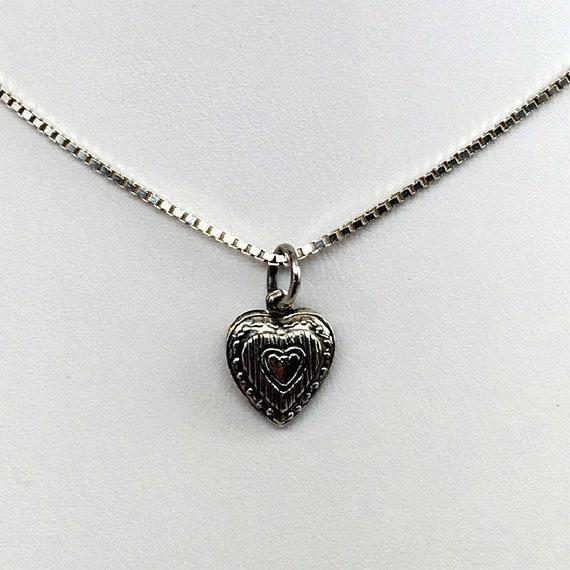 Small Heart Charm Silver Heart Heart Pendant Heart Etsy