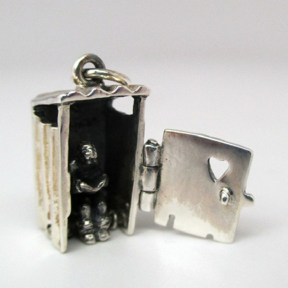 Sterling Silver OUTHOUSE Charm for Bracelet MOVABLE Reader Gift VINTAGE Pendant