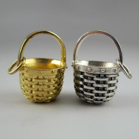 APPLE BASKET CHARM, Basket Charm, Silver Basket, S
