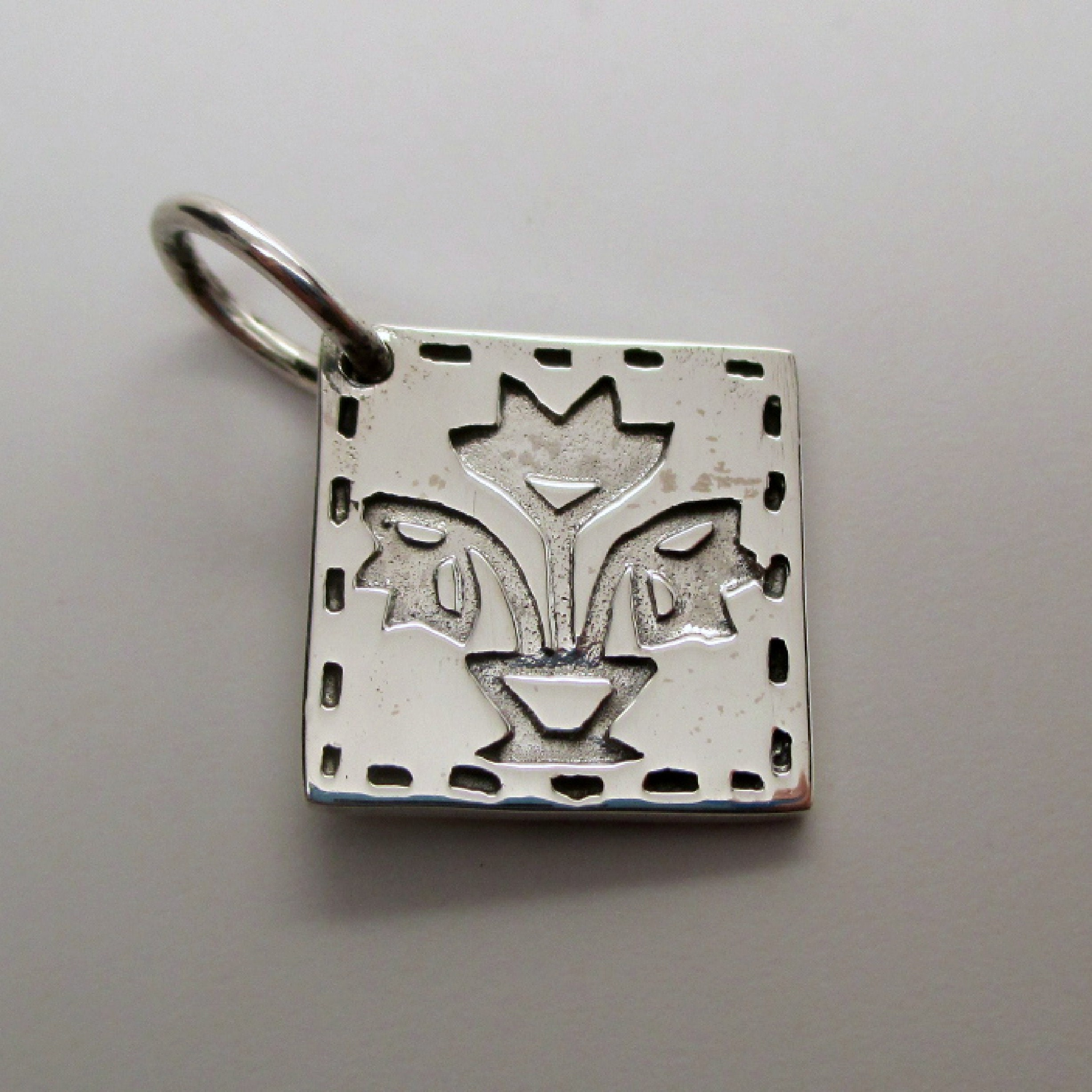 925 Sterling Silver Antiqued Tulip Charm Pendant