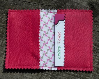 Faux pink leather card holder