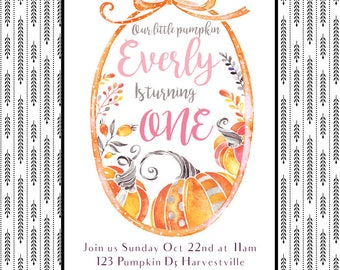 Pumpkin Birthday Invitation, first birthday invite, fall, autumn, pumpkins, digital, printable, customizable, watercolour, watercolor