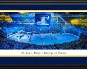 St. Louis Blues Panoramic Poster - Enterprise Center Fan Cave Picture