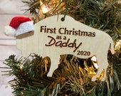 First Christmas as a Daddy Buffalo Bison Wooden Engraved Ornament