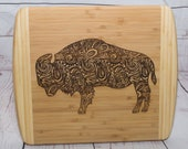 Buffalo Bison Laser Engraved Cutting Charcuterie Board