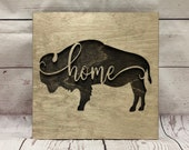 "Buffalo Home 9"" x 9"" script wall piece - Script - Rustic Wooden Wall Decor"