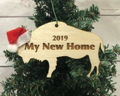 Our New Home Buffalo Bison Wooden Engraved Ornament