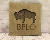 BFLO Buffalo Rustic Wooden Wall Decor