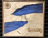 Wooden Lake Erie Lake Ontario Niagara Bathymetric Map