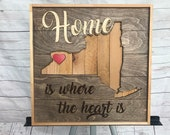 "Rustic Art ""Home is Where the Heart is""  Buffalo wall piece"