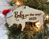 Baby on the Way - Mommy to be - Buffalo Bison Wooden Engraved Ornament