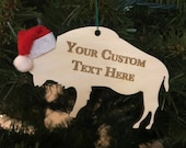 Custom Buffalo Bison Wooden Engraved Ornament