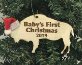 Baby's First Christmas Buffalo Bison Wooden Engraved Ornament