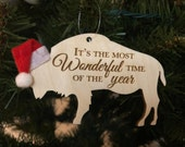 Most Wonderful Time of the Year Buffalo Bison Wooden Engraved Ornament