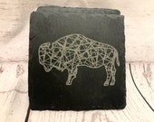 Buffalo Bison Slate Coasters Engraved