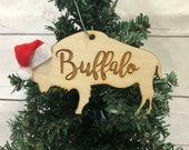 Buffalo Script Bison Wooden Engraved Ornament Coordinates