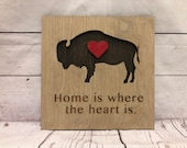 Buffalo Home is Where the Heart is Rustic Wooden Wall Decor