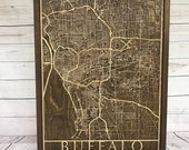 Rustic Buffalo City Map - 3D