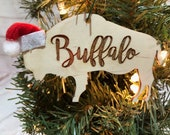 Buffalo Script Bison Wooden Engraved Ornament