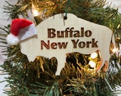 Buffalo New York Buffalo Bison Wooden Engraved Ornament