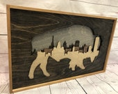 3D Skyline in Buffalo New York Rustic Wall Decor