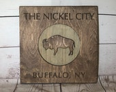 Buffalo Nickel City Rustic Wooden Wall Decor