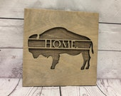 Buffalo Bison Home Rustic Wooden Wall Decor