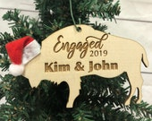 Engaged Buffalo Bison Wooden Ornament Personalized