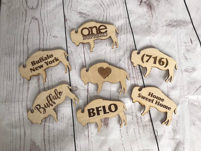 Buffalo Engraved Wooden Magnets image 0