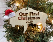 Our First Christmas Buffalo Bison Wooden Engraved Ornament