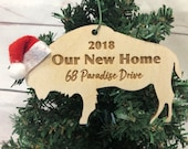 Our New Home Buffalo Bison Wooden Engraved Ornament Personalized