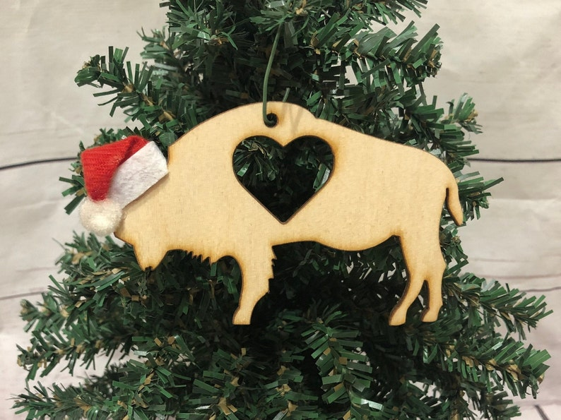 Buffalo Heart Bison Wooden Engraved Ornament image 0