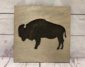 Buffalo Bison Rustic Wooden Wall Decor