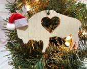 Buffalo Heart Bison Wooden Engraved Ornament