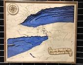 Wooden Lake Erie Lake Ontario Niagara Bathymetric Map