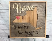 """Rustic Art """"Home is Where the Heart is""""  Buffalo wall piece"""