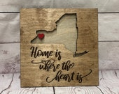 Buffalo Home is Where the Heart is - Script - Rustic Wooden Wall Decor