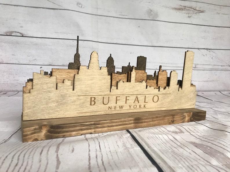 Buffalo New York Wooden Skyline Statue image 0
