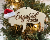 Engaged Buffalo Bison Wooden Engraved Ornament