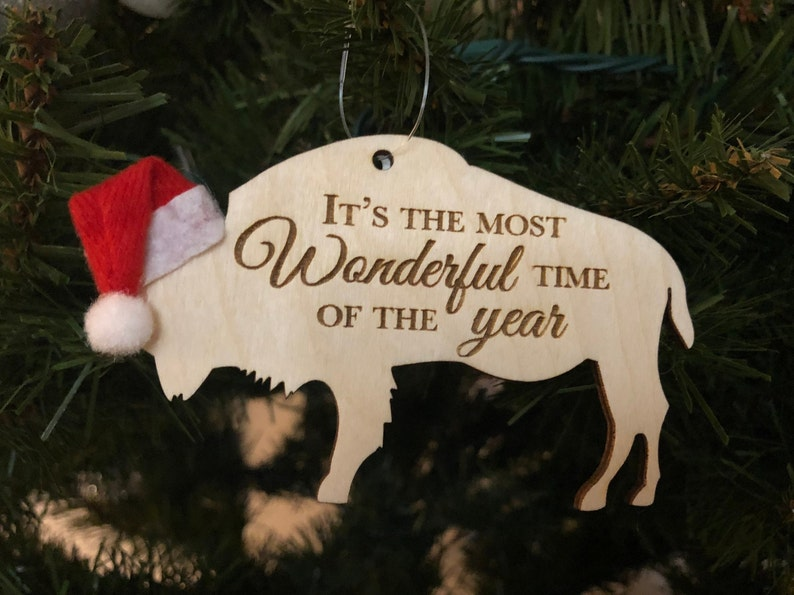 Most Wonderful Time of the Year Buffalo Bison Wooden Engraved image 0