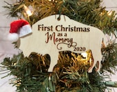 First Christmas as a Mommy Buffalo Bison Wooden Engraved Ornament