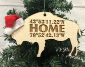Home Buffalo Bison Wooden Engraved Ornament Coordinates
