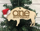 One Buffalo Bison Wooden Engraved Ornament