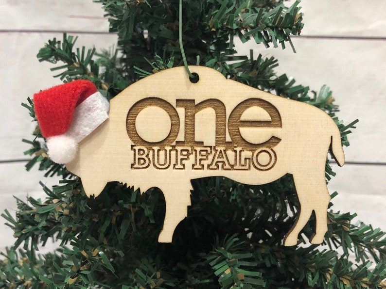 One Buffalo Bison Wooden Engraved Ornament image 0