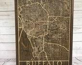 Rustic Buffalo City Map - 3D