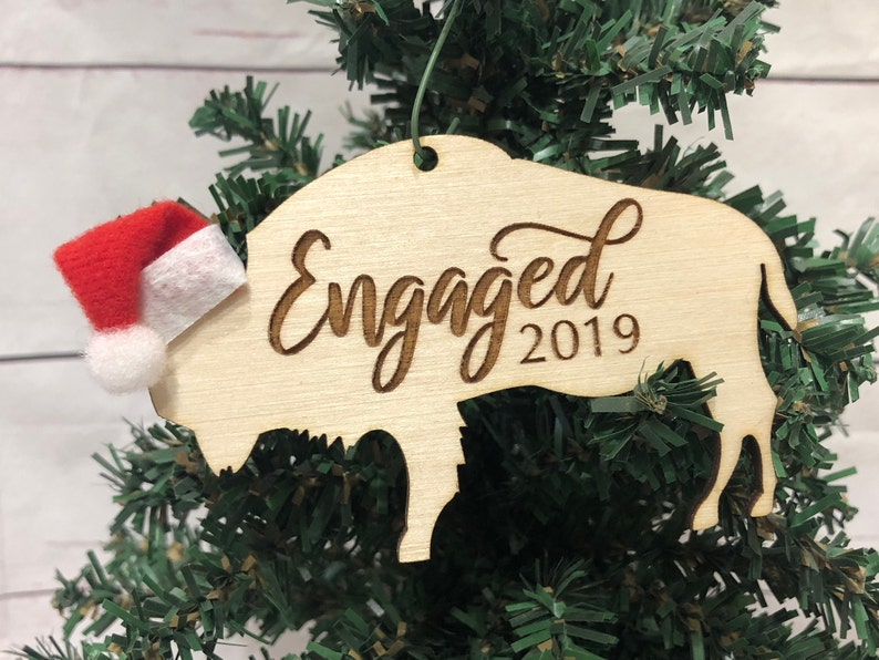 Engaged Buffalo Bison Wooden Engraved Ornament image 0