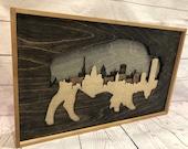 3D Skyline in Buffalo New York Rustic Wall Decor