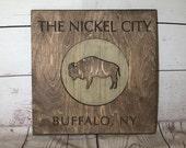 Buffalo Nickel City Rustic Wooden Wall Decor