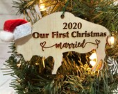 First Christmas Married Buffalo Bison Wooden Engraved Ornament
