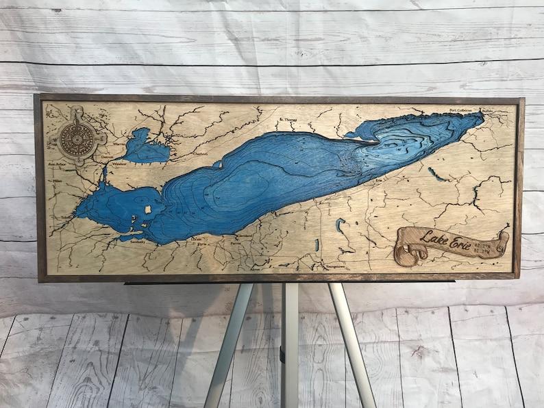 Wooden Lake Erie Bathymetric Map image 0